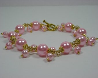 Pink Glass Pearl Chained Bracelet with Dangles