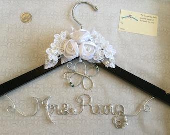Wedding hanger, bridal hanger with a flower