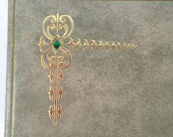 Vintage Light Green Rectangle Box Metallic Gold Embossed Design of Keys or Swords, Padded Top, For Trinkets, Makeup, Art Supplies, Keepsakes
