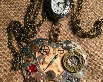 STEAMPUNK (My confused Heart) Watch Pendant  (working)