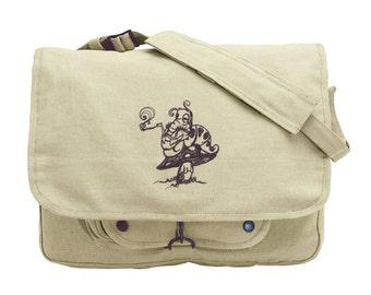 Smokin' Caterpillar, Alice in Wonderland Embroidered Canvas Messenger Bag