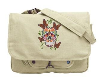 Sugar Skull Bag, Skull Messenger Bag, Butterfly Bag, Dia de los Muertos, Mariposas Embroidered Canvas Messenger Bag