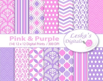 Pink and Purple Birthday Digital Paper, kids scrapbook, Pink & Purple backgrounds in chevron stripe polkadots damask and diamond pattern