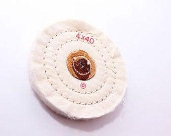 "White Finex Muslin Buff Wheel 4"" x 40Ply With Leather Center Jewelry Polishing Wa 416-051"