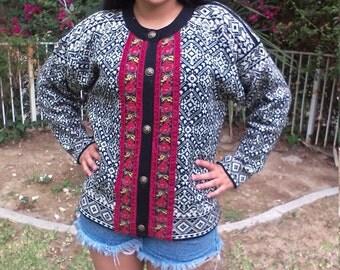 Norkswear,cardigan sweater,100% wool,sweater,large