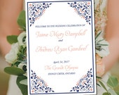 "Fold Over Wedding Program Template Download ""Madison"" Navy Coral Program Order of Service Half Fold Program Printable"