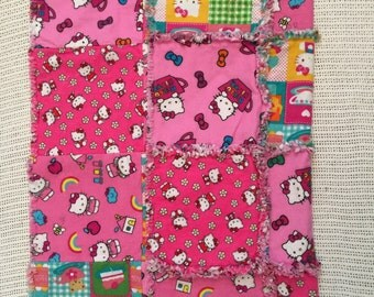 Hello Kitty Rag Quilt, pink, red, green, yellow, blue, baby shower, gift, Christmas, baby girl, kitty, blanket, quilt