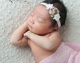 Cream Headband, Pink Headband, Brown headband, pink Flower Girl Headband, pink newborn headband, pink newborn photo prop, petite headband