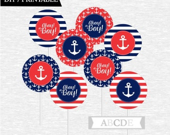 Instant Download Red and Navy Cupcake Toppers Baby Shower decorations Ahoy Its a boy Nautical baby Shower DIY Printable (PDNRE001)