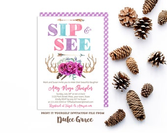 sip and see invitations, baby shower invites, pink purple teal baby shower, meet baby party, hello baby invitation, sip and see invites, diy