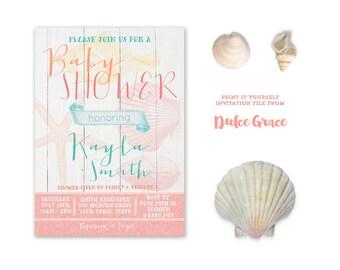 Beach Theme Baby Shower Invitations, Tropical Baby Shower Invites, Coral  Aqua Baby Shower Invitations