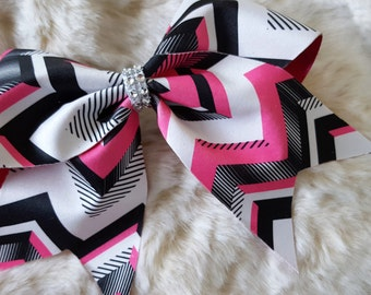 Pink and Black Geometric Cheer Bow
