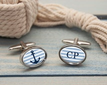 Romantic Nautical Anchor Cufflinks - Personalised - Choose From Three Shapes - Sailing - Boating - Marine - FREE UK DELIVERY!