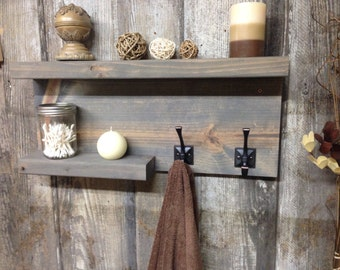READY TO SHIP Modern Rustic Bathroom Shelf, Storag Shelf, Towel Holder, Robe Holder, Shelf