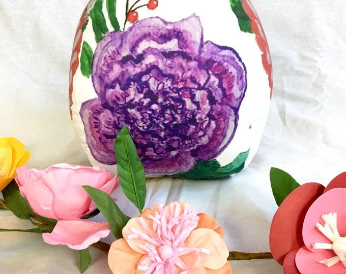 Floral pouf tear drop throw pillow- Watercolor