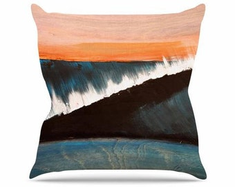 """Throw Pillow - Blue Orange Waves Nathan Gibbs """"Clean Slate"""" NG1009A Great Gift Idea!"""
