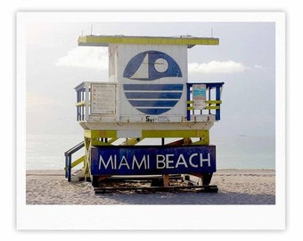 "Gallery Print - Blue Multicolor Philip Brown ""Miami Beach lifeguard Stand"" PB2003A Great Gift Idea!"
