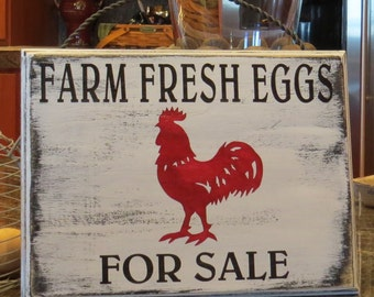 Farm Fresh Eggs For Sale~Hand Painted Rustic Kitchen Sign/Vintage Kitchen/Country Kitchen/Custom Sizes and Colors Available