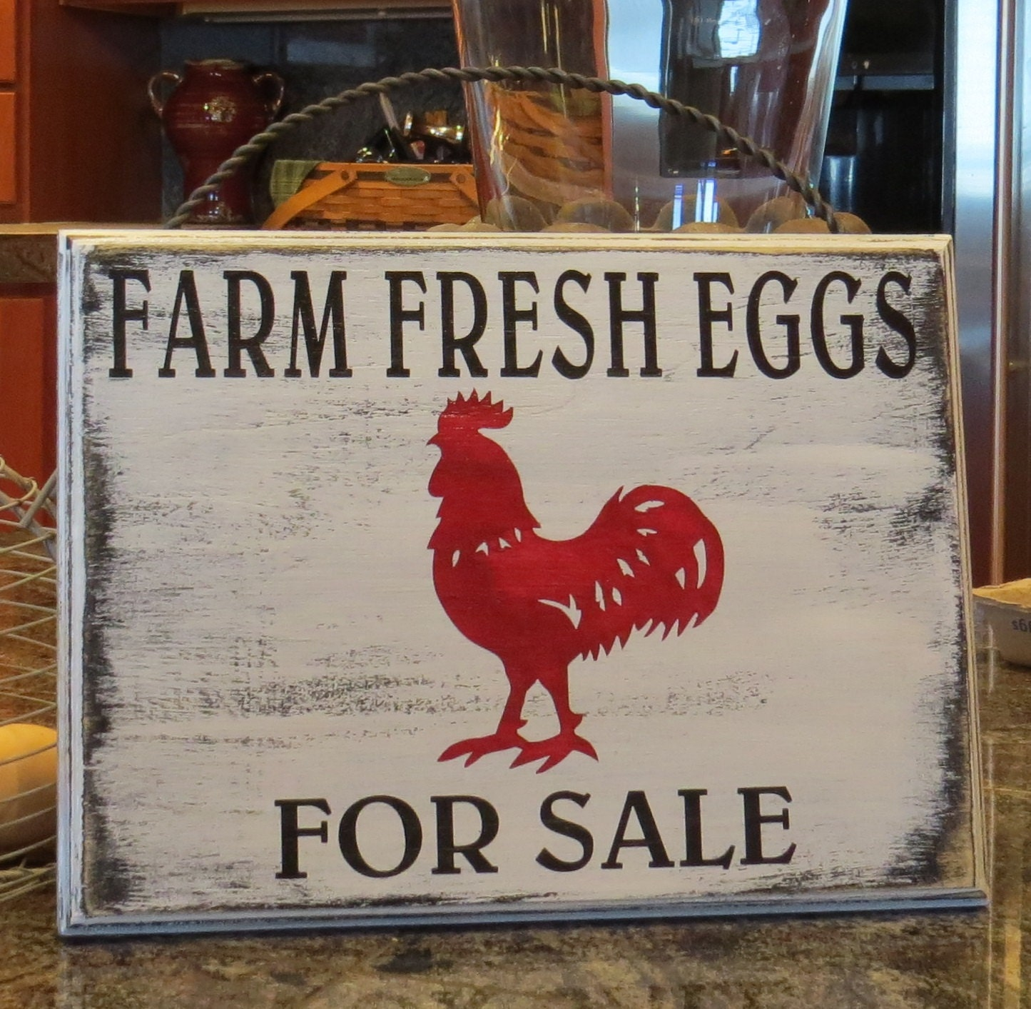 Farm Fresh Eggs For Salehand Painted Rustic Kitchen