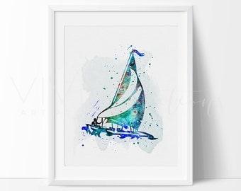 Sailboat Print, Nautical Watercolor Art, Nursery, Kids Bedroom Decor, Baby Room,  Home Decor, Wall Art, Buy 2 Get 1 Free, No. 07