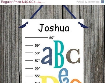 ON SALE ON Sale Personalized Fun Alphabet Canvas Growth Chart