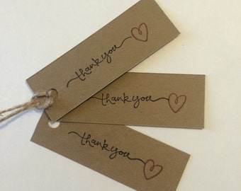Rustic hand stamped thank you tags
