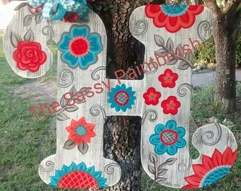 Wooden initial door hanger, any letter, 22 inches *** any letter *** turquoise and coral