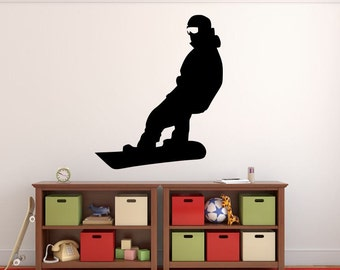 """Snowboarder Wall Decal - 33"""" x 27"""" Snowboarder Silhouette Vinyl Decal - Snowboarder 18"""