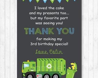 Garbage Thank you card, Garbage Truck Thank you Note, Garbage Birthday, Garbage Party, Chalkboard, printable