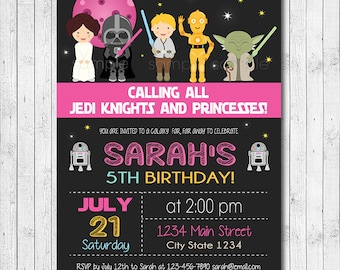 Star Wars Birthday Invitation, Star wars Invite, Star wars party, Girls Invitation, Pink, Digital Printable Invitation