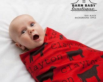 Personalized Show Heifer Baby Blanket- farm nursery, fleece receiving stroller blanket, farm animal, stock show baby shower gift