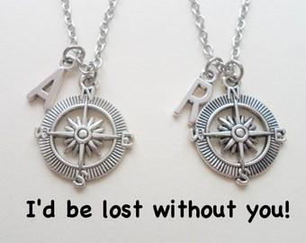 Best Friend Compass Necklace Set, Couples Initials, Husband, Wife Gift, Boyfriend, Girlfriend Necklace, Best Friend Necklace, Anniversary
