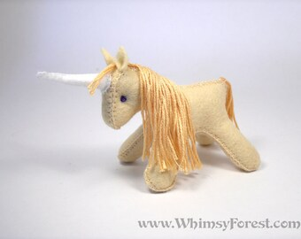 Miniature Yellow Felt Toy Unicorn