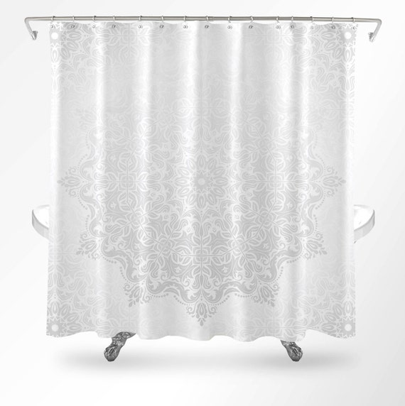 Mandala Shower Curtain Shower Curtain Boho White Shower