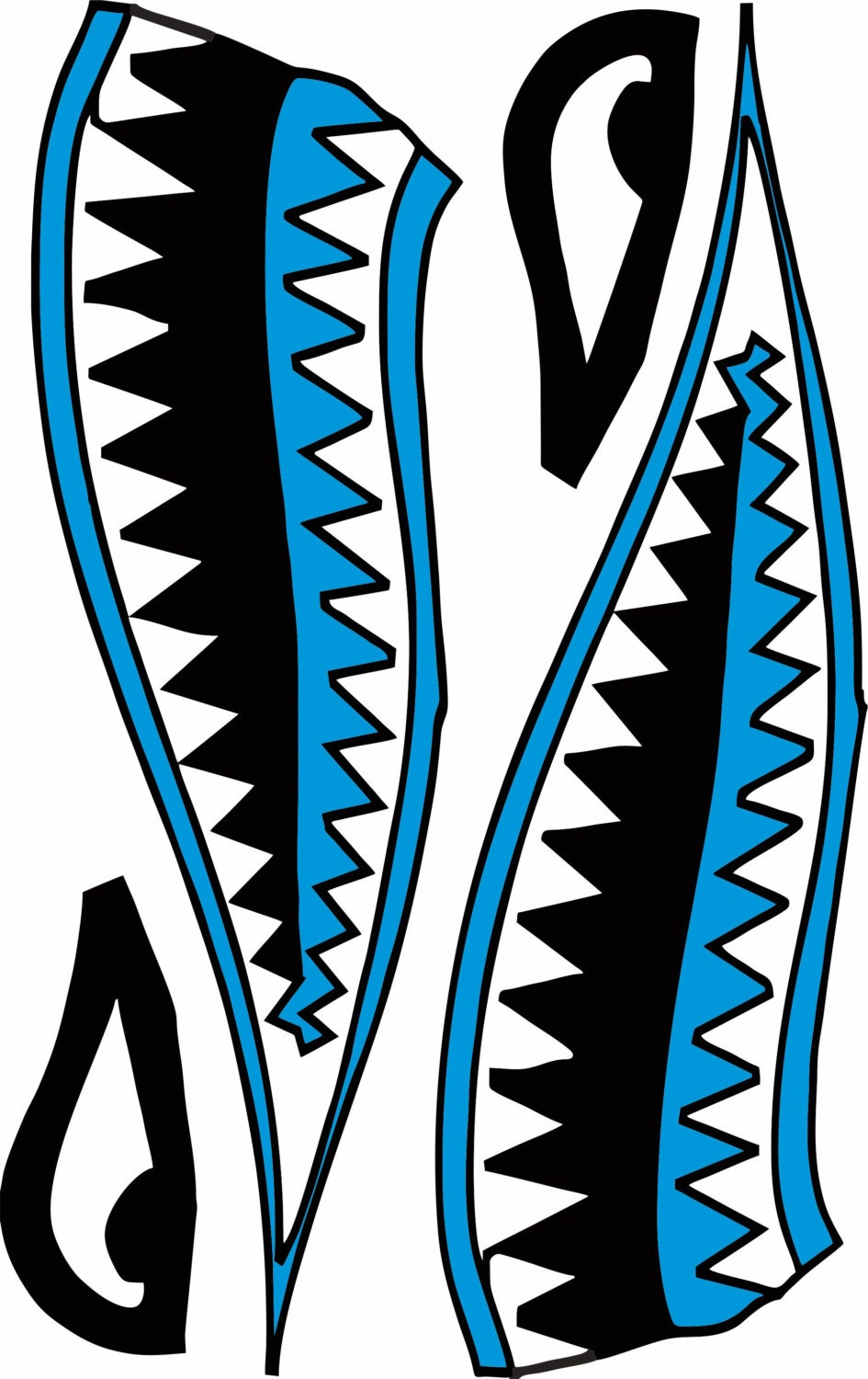 Kayak Canoe Shark Mouth Decal 7 Colors To Choose From