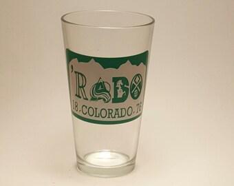 Rado Beer Glass,Colorado Sports Team Beer Glass,Broncos Beer Glass,Avalanche Beer Glass,Rockies Beer Glass,Colorado License Plate Beer Glass