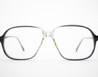 Vintage Eyeglass Frame | Oversized Clear Grey Fade | 80s Aviator Glasses Frames | Vintage Deadstock | Nerd Glasses  - Pisa 21770