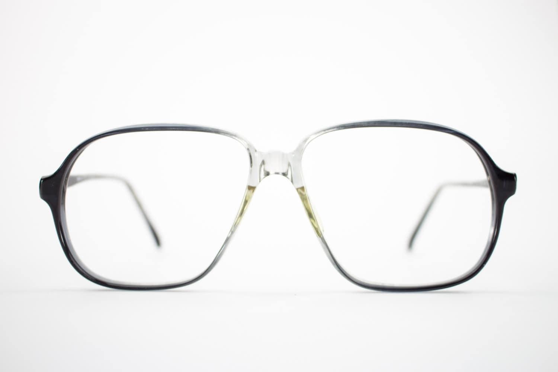 Vintage Eyeglass Frame | Oversized Clear Grey Fade | 80s Aviator ...