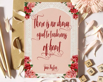 Jane Austen Quote Card / Literary card / jane austen collectible greeting card