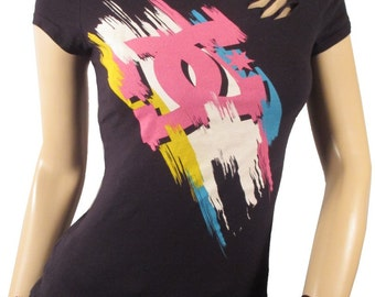 SALE DC Shredded /Slashed /Weaved OOAK  T shirt Top