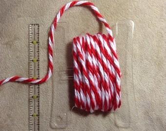 5 Yards of Christmas Candy Cane Yarn