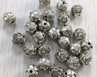 30pcs  10mm Antique Silver Beads  ,Flower  Beads