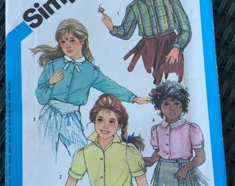 Girl's Blouse Size 6 Long and Short Sleeve UNCUT FF Simplicity #6560 from 1984