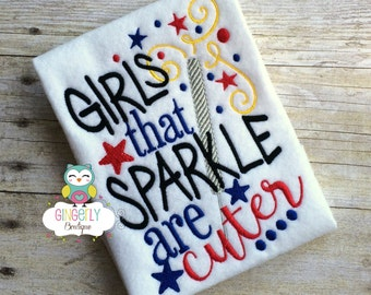 Girls that Sparkle are Cuter Patriotic/4th of July Shirt or Bodysuit, Independence Day, Fireworks, Girl 4th of July, 4th of July Parade