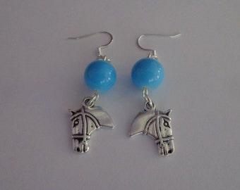 Handmade Blue Dangling Horse Head Earrings, Cowgirl Earrings, Silver Horse Earrings, Western Earrings