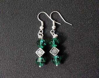 Ó Ceallaigh Green Crystal & Celtic Motif Dangle Earrings