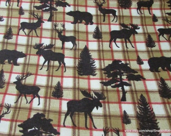 Flannel Fabric - Forest Creatures on Plaid  - 1 yard - 100% Cotton Flannel