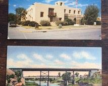 Lot of Two (2) Vintage New Mexico Postcards / Two Bridges on the Pecos / Alamogordo Post Office