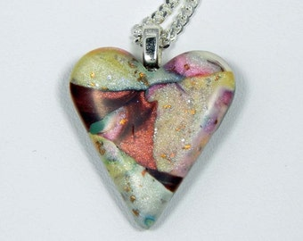 REDUCED PRICE - Petite Heart Necklace. Polymer Clay Heart Necklace. Heart Necklace. Polymer Clay