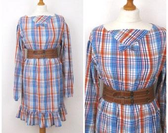 Vintage Plaid Mini Dress - Tartan Retro Summer Dress - S M